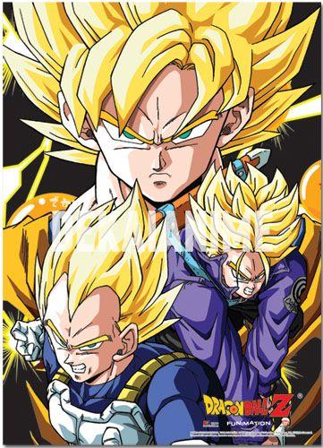 Shop By Anime Dragon Ball Dragonball Z Goku Trunks And Vegeta Fabric Poster Dekai Anime Officially Licensed Anime Merchandise
